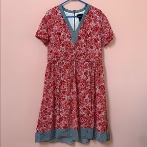 Lane Bryant Red and navy blue cotton dress